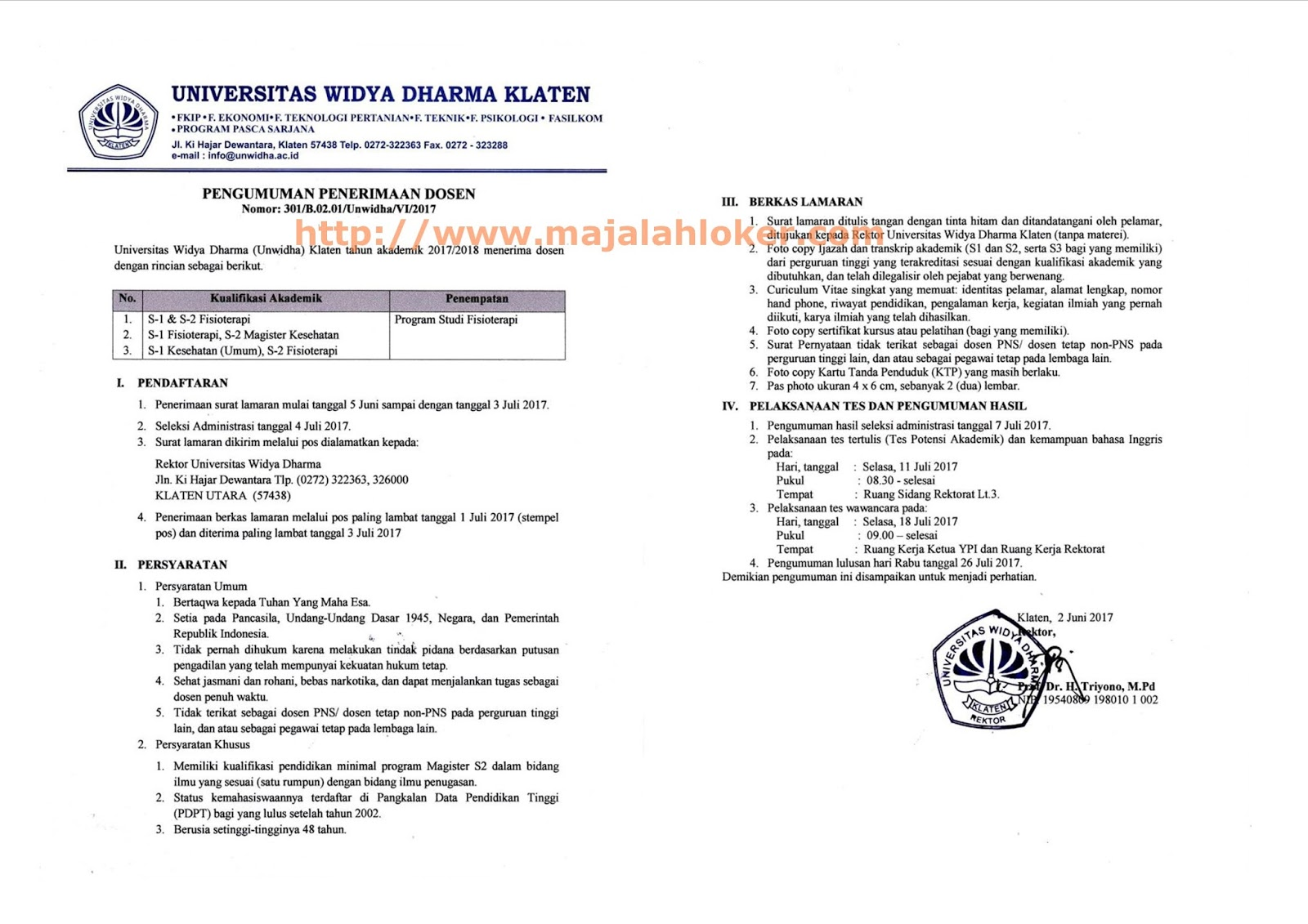 Lowongan Dosen Fisioterapi Universitas Widya Dharma