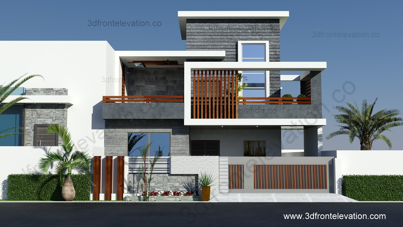 3d front portfolio for Contemporary indian house elevations