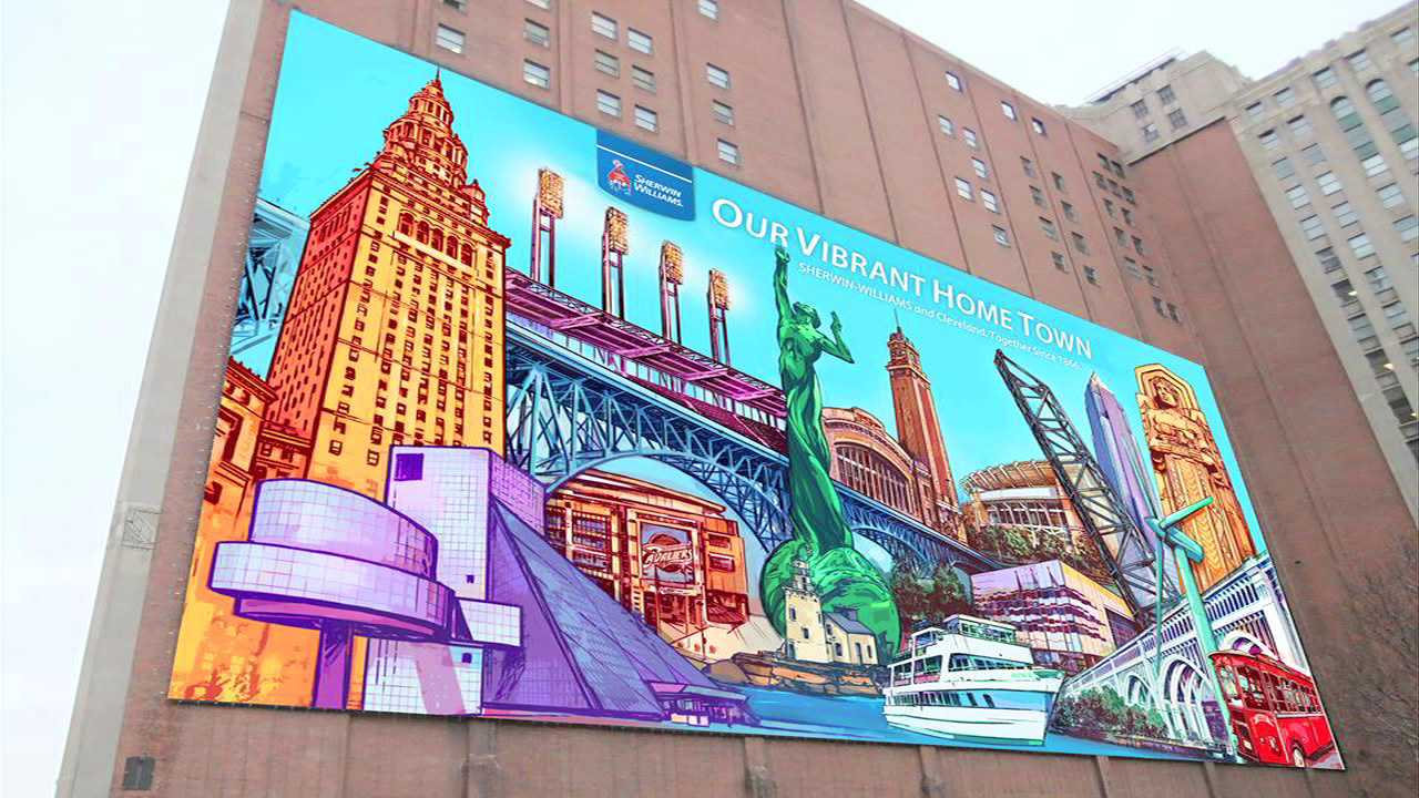 Sherwin Williamsu0027 Vibrantly Colored Mural On The Landmark Office Towers Was  Displayed Above Ontario Street For Only One Year (2013 14).