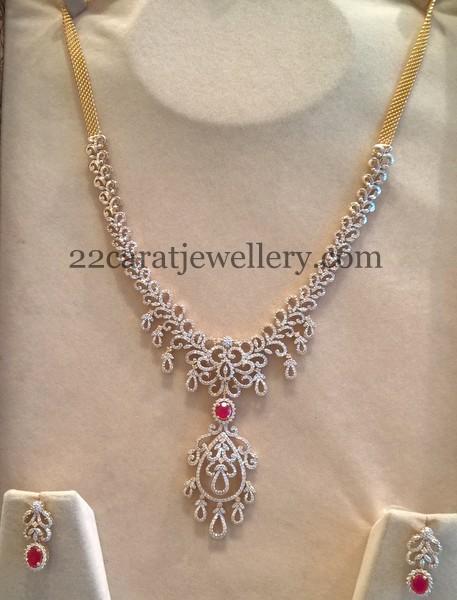 Medium Size Diamond Haram 5 Lakhs Only Jewellery Designs