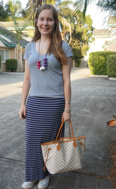 hospital style grey v neck tee navy stripe maxi skirt LV neverfull damier azur | awayfromblue