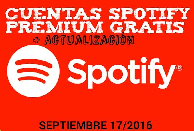 Cuentas spotify premium gratis. Septiembre 2016