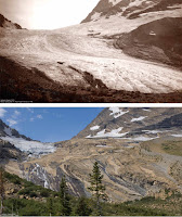 Of the 150 glaciers that existed in Glacier National Park in the late 19th century, just 25 remain, including the Jackson Glacier, seen here in 1911 (top) and 2009 (bottom). (Credit: M. Elrod, University of Montana. USGS/Lisa Mckeon) Click to Enlarge.