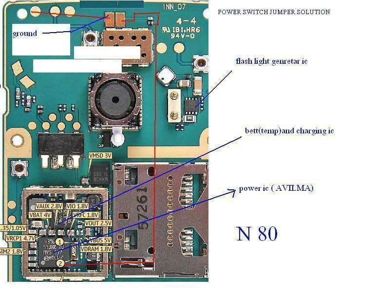 NEW GSM SOLUTIONS: Nokia N80 power switch jumper solution