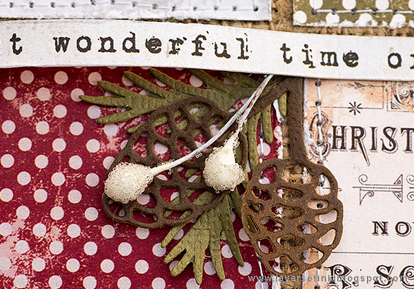 Layers of ink - Christmas Patchwork Wall-hanger by Anna-Karin with Tim Holtz Sizzix Festive Greens