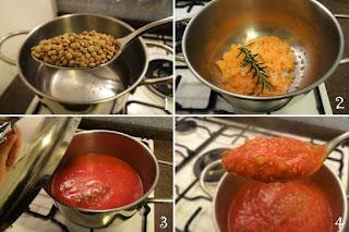 foto preparazione Ricetta pasta al ragù di lenticchie per bambini