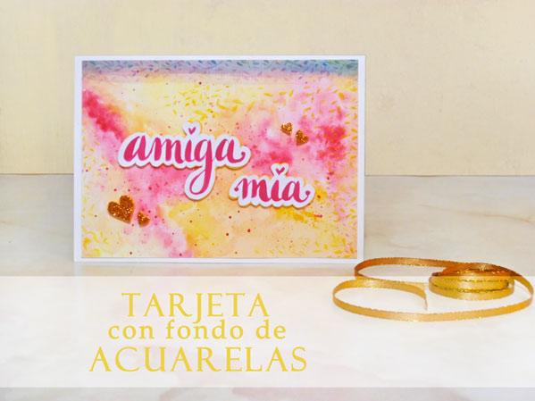 Imprimible tarjeta con fondo de acuarelas