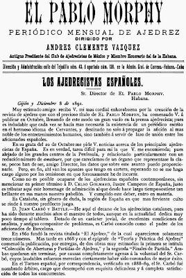 Recorte en la revista El Pablo Morphy sobre la situación del ajedrez en España en 1891
