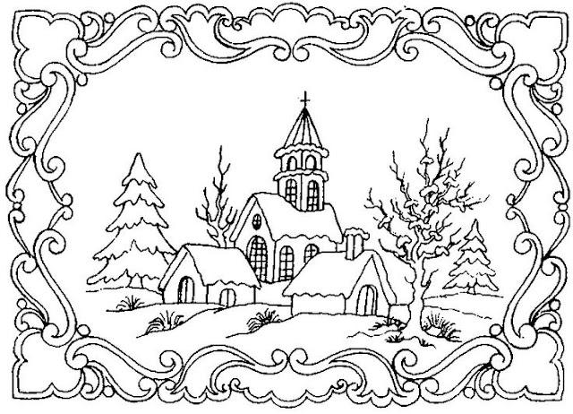 coloriage hiver paysage