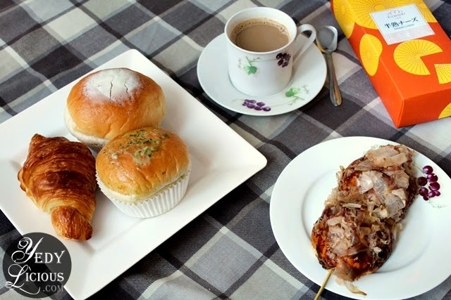 Croissant, Soft Matcha Bun, Fuwa Fuwa Cream Bun, Salmon Bonito and Hanjuku Cheese at Kumori Japanese Bakery Philippines