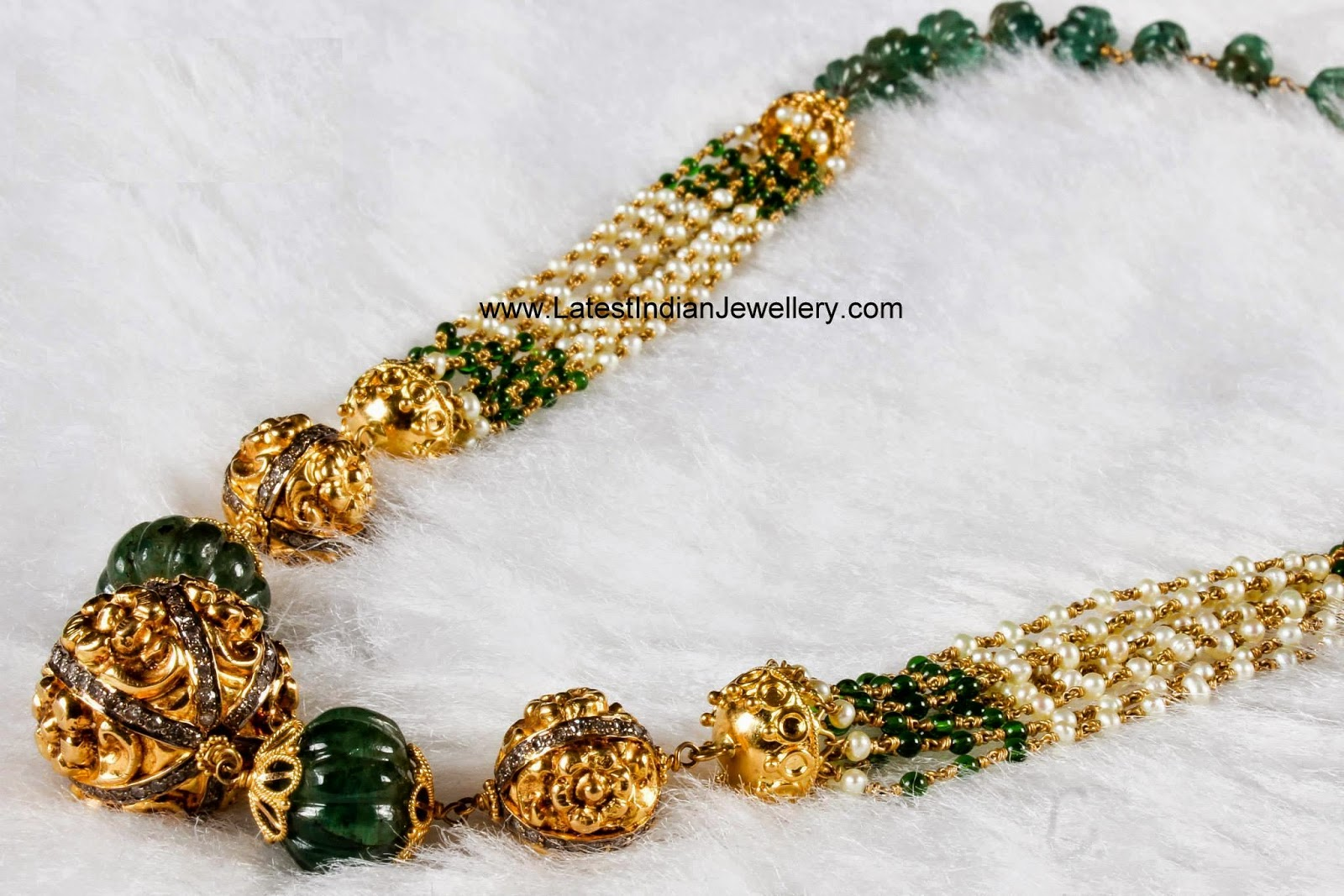 nakshi balls emerald beads necklace