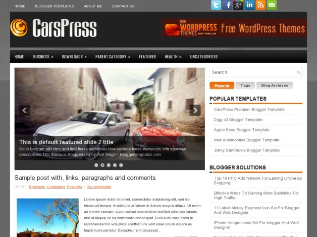 CarsPress Blogger Template