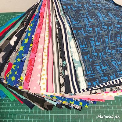 Jerseyreste für eine Decke upcycling