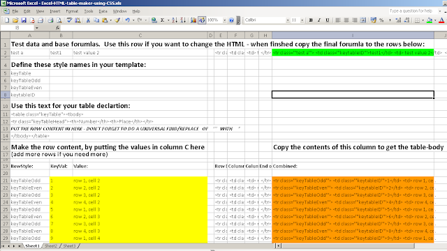 picture of Excel spreadsheet, data ranges have different colours