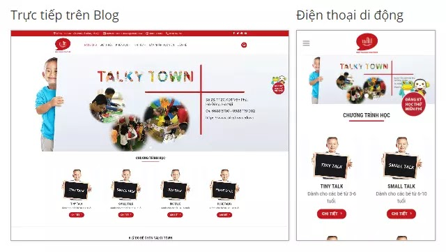 Theme blogspot trung tâm tiếng Anh trẻ em Talky Town