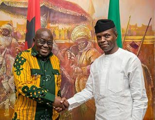 Akufo Addo meets Nigeria's Acting President Yemi Osibanjo in Abuja ahead of African Union Summit in Addis Ababa, Ethiopia.‬