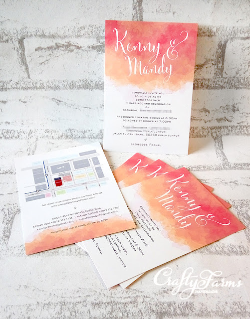 Coral Peach Watercolor Wedding Card Printing