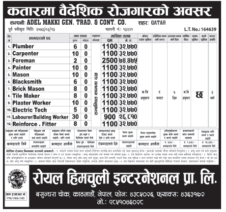 Jobs For Nepali In Qatar,  Salary -Rs.74,000/