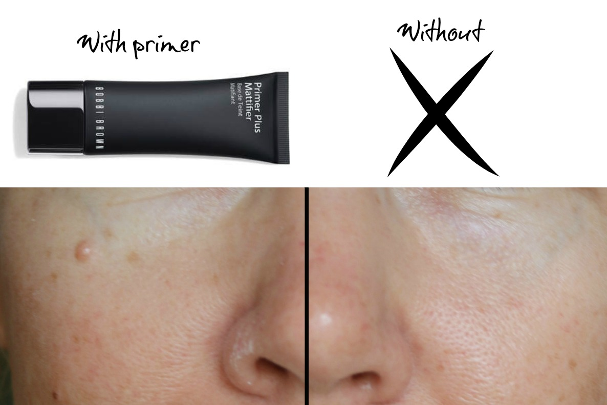 70fe3560bb2d7 ... am wearing the primer and on the right side I show you my bare face.  You can clearly see how my left side is more matte and the pores are  blurred out.