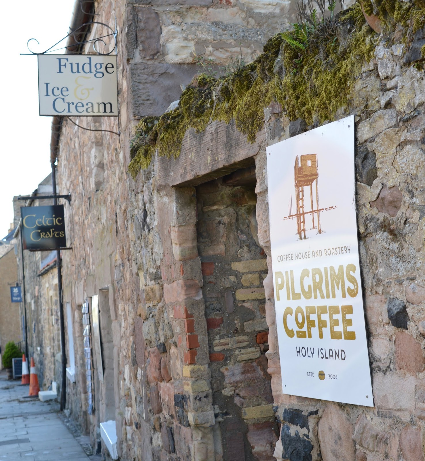 The Holy Island of Lindisfarne, Northumberland - what to see and do during a half day visit - pilgrims coffee entrance