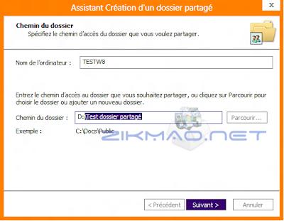 chemin d'accès d'un dossier partagé Windows 8