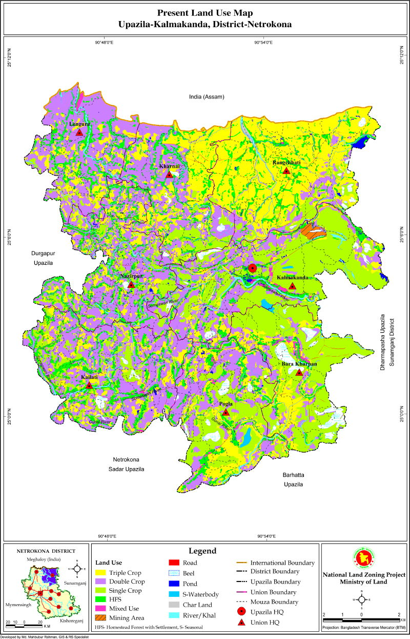 Kalmakanda Upazila Mouza Map Netrokona District Bangladesh