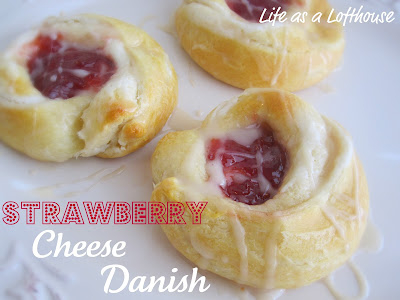 Strawberry Cheese Danish is a buttery, flaky crescent roll with a delicious strawberry center and a vanilla glaze drizzle. Life-in-the-Lofthouse.com