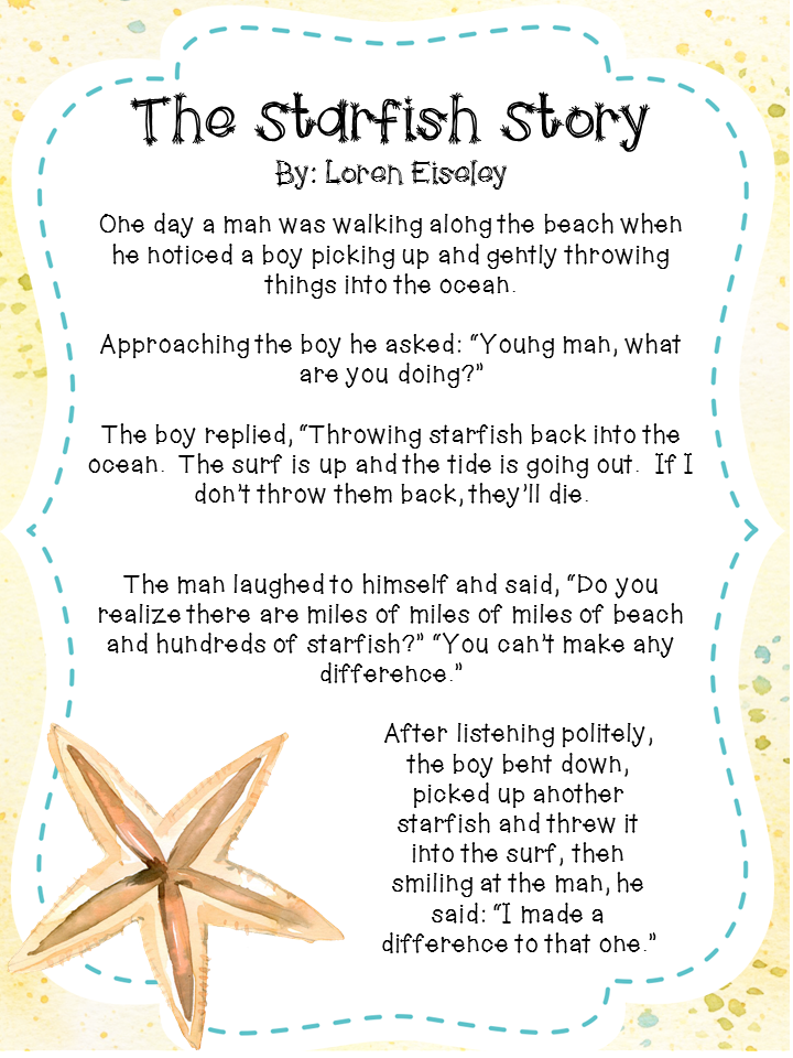 graphic regarding Starfish Poem Printable named Starfish Tale Poster Equivalent Search phrases Pointers