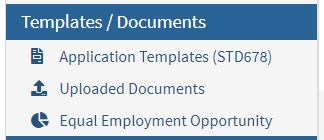 Image of the State Application Section of the CalCareers accout site