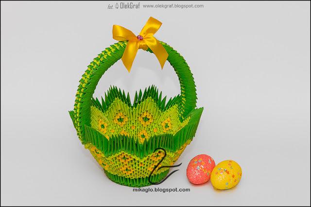 391. Duży kosz z origami / 3d origami green basket