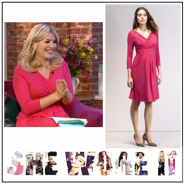 Bright, Cross Over Front, Draped, Dress, Holly Willoughby, Isabella Oliver, Jersey, Maternity, Pink, This Morning, Three Quarter Sleeve, V-Neck, Wrap Front,