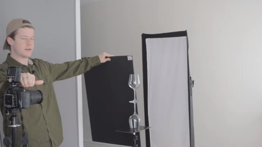 Схема расстановки света для съемки стеклянных бокалов