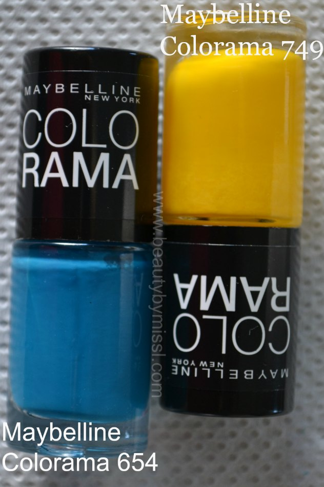 blue, yellow, nail polishes