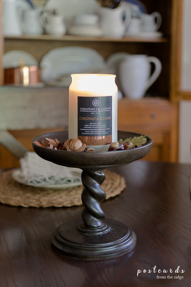 Chesapeake Bay Candle Chestnut and Acorn on a pedestal