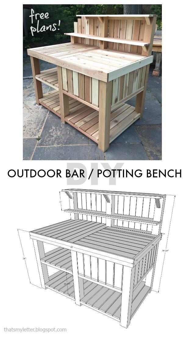 diy outdoor bar potting bench free plans