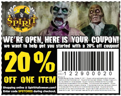 picture relating to Spirit Halloween Printable Coupon called Canadian Day-to-day Bargains: Canadian Coupon: 20% Off Spirit