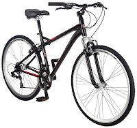 "Men's Schwinn Siro Hybrid Bicycle 700c, 18"" frame, front shock absorber, spring suspension seat post, swept-back handlebars, 21 speeds"
