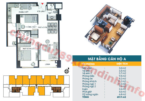 Thiết kế căn hộ A - Tòa CT2 - Diện tích 69.9m2 Chung cư 789 Xuân Đỉnh