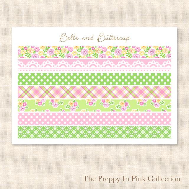 Preppy pink and green washi tape stickers