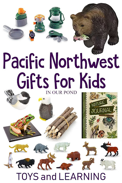 Nature-Themed Pacific Northwest Gifts for Kids // In Our Pond // Washington and Oregon // Camping // Hiking // Books about Native American legends, the animals of the Pacific Northwest, field guides for kids, and more // Camping Supplies Ideas // Toys for pretend play // Learning resources for homeschoolers