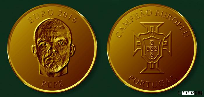 Meme com Medalha Comemorativa da Conquista do Euro 2016 pela Seleção Nacional de Portugal – Pepe