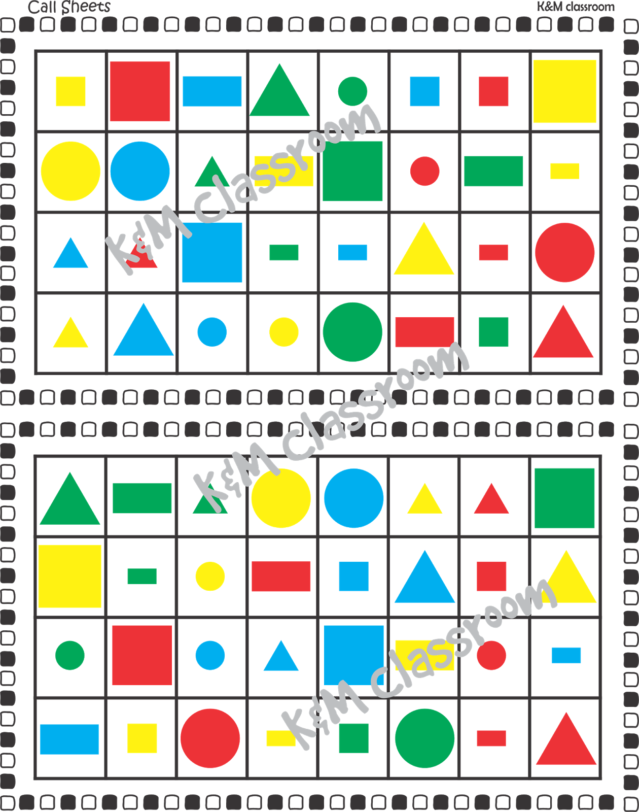 Km Classroom Bingo Shapes