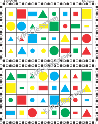 Shapes Bingo Cards