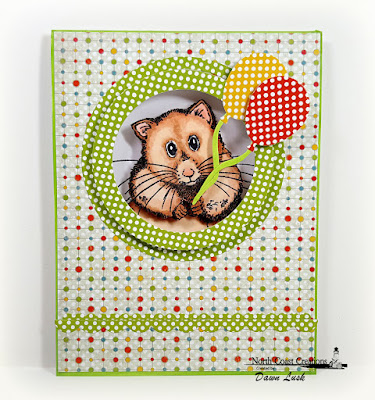 North Coast Creations Stamp: Henry the Hamster, North Coast Creawtions Custom Dies: Happy Birthday, Our Daily Bread Designs Paper Collections: Birthday Brights, Birthday Bash, Our Daily Bread Designs Custom Dies: Balloons and Streamers, Bitty Borders, Circles