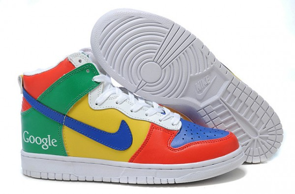 lowest price dd114 9620f Colorful Leather Nike Dunk High Top Google Shoes