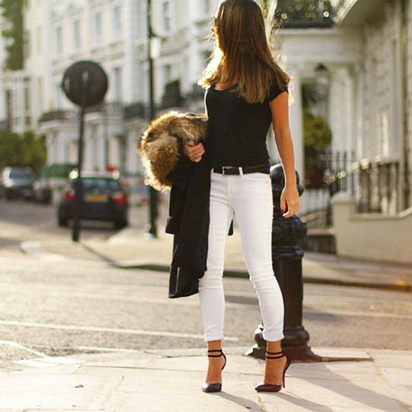 43abca7ab9f Sometimes all you need with white jeans is a black top and classy  accessories.