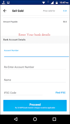 enter your banks details