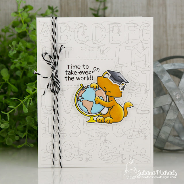 Graduation Card by Juliana Michaels featuring Newton's Nook Designs Newton's Graduation Stamp Set and Essential Alphabet Die Set