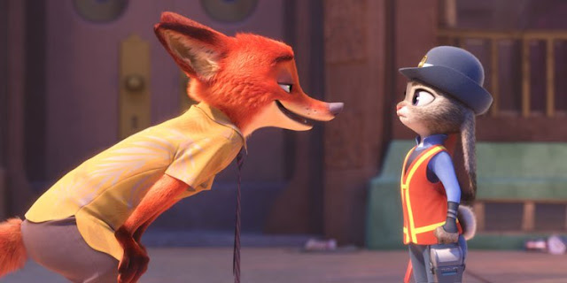 "Jason Bateman as a sly fox and Ginnifer Goodwin as an earnest bunny in ""Zootopia"""