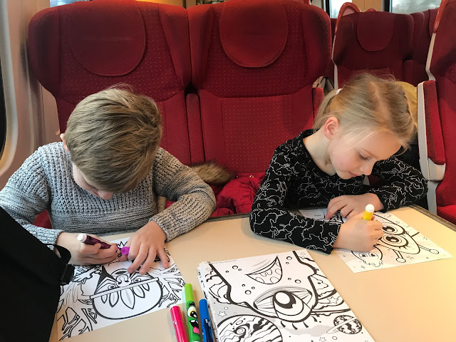 busy kids on the train